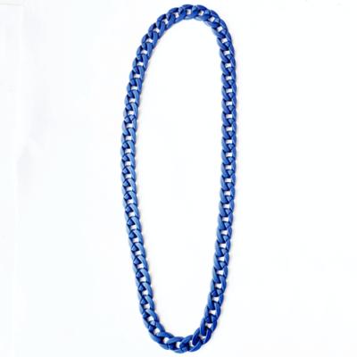 collar largo de cadena de resina azul