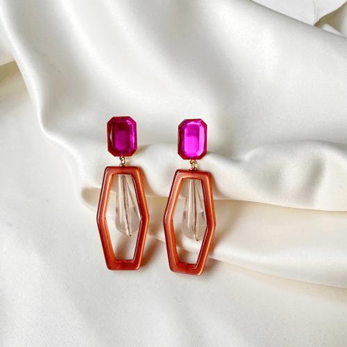 Aros de resina fucsia y rosa