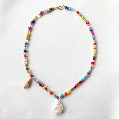 collar corto cristales multicolor
